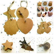 100pc Brown Blank Kraft Paper Marked Hand DIY Tags Labeled Card And 1pc HempRope