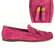 GUCCI SHOES SOFT SUEDE LEATHER BAMBOO TASSELS LOAFERS BLOOM