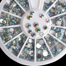 Multi-size Nail Art Tips Bling AB Rhinestones Clear Crystal Beads Wheel Flatback