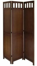 3 or 4 Panel Solid Wood Room Screen Divider, Antique Walnut Finish