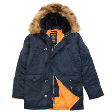 ALPHA INDUSTRIES SLIM FIT N-3B PARKA COLD WEATHER REPLICA BLUE/ORANGE COAT NYLON