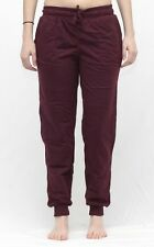 LADIES Activewear Tracksuit Pants with Ribbed Ankle BURGUNDY sz 8,10,12,14,16