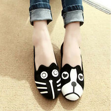 New Women Personality Cute Cat Dog Face Loafers Low Heel Ballet Flats Shoes N032