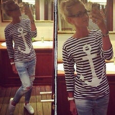 Women Nautical Stripes Anchor Bear Tops Tunic Round Neck Tee Shirt Career Blouse