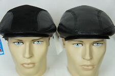 Black 100% LEATHER or SUEDE Driving Newsboy Ivy Hat Golf Gatsby Flat Cabbie M-3X