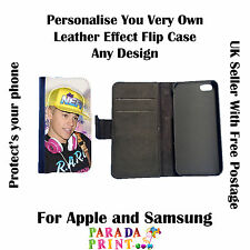 Personalised Leather effect flip case for apple samsung phone tablet ipad