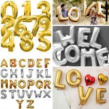 Birthday Wedding Party Foil Helium Balloon A-ZLetters&0-9Number In Gold & Silver