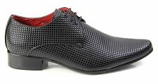 Mens Pebble Style Lace Up Leather Lined Pointed Toe Cuban Heel Wedding Shoes