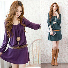 Women belted Dress Scoop Neck Tunic Style Long Sleeve Pleated Skirt Top