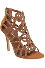 Tan Studded Caged Gladiator Sandals Zip Heel