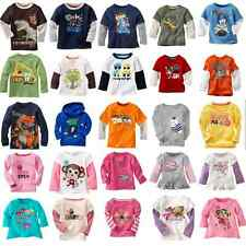 Boys Girls 100% cotton long sleeve Tops & T-Shirts Baby Toddler Kid's 18mos-5T