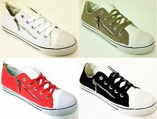 Women's Classic Canvas Sneakers Lace Up Zipper Fashion Casual Shoes Colors Sizes