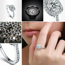 Size 6/7/8//9 18k white gold plated AAA Cubic Swarovski crystal women ring