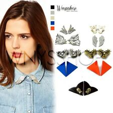 Women Collar Tips Punk Rock Style Bird Wing Blouse Shirt Studs Pointed Brooch