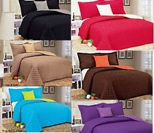4PC  KING QUEEN MICROFIBER QUILT COMFORTER BEDSPREAD BEDDING 6 COLORS REVERSIBLE