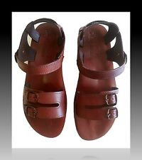 New Sandal Shoes Leather Flip Flops Flat Biblical Sandals Brown Thong Size 6-12