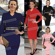 Womens Belted Celeb Stretch Tunic Party Career Business Pencil Sheath Dress 532