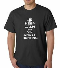 KEEP CALM AND GO GHOST HUNTING GHOST HUNTER ADD TEXT TO REAR OF T SHIRT