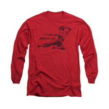 Bruce Lee Martial Arts Line Kick Adult Long Sleeve T-Shirt Tee