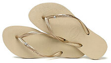 Havaianas Women`s Flip Flops Slim Crystal Glam SW Sandals Sand Gray Any Size NWT