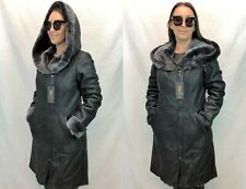 NEW 100% GENUINE REAL SHEARLING LEATHER TOSCANA FUR HOOD BROWN COAT JACKET XS-6X