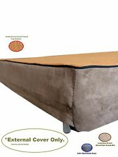 Replacement Gusset MicroFiber Coral Fleece Suede Brown Zipper Best Dog Bed Cover