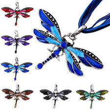 Stylish Pendant Dragonfly Charms Necklace Chain Rhinestone Inlay Gem tone