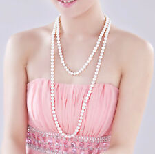 Faux Pearl necklace sweater chain multi-color long fashion 8 mm