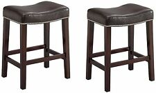 """Faux Leather Wood Saddle Stool Chair Espresso Seat & Legs 24"""" or 29"""" Set of 2"""