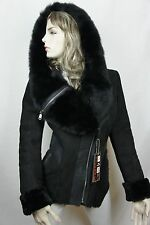 NEW 100% Real Shearling Suede Leather Sheepskin Toscana Hood Jacket Coat S-5X