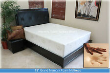 "SALE 13"" Gel Grand Memory Foam Mattress. Twin, Full, Queen, King + 2 Pillows NEW"