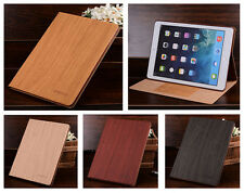KAKU Wood Grain Flip Cover for Apple iPad Tablet Leather Case Stand Accessory