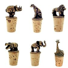 Wine Bottle Stoppers Brass Safari Animals Gift Ideas African Artist Brown