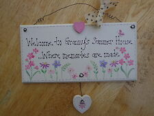 "PERSONALISED ""GRANNY'S SUMMER HOUSE"" Hand-made Wooden Plaque"