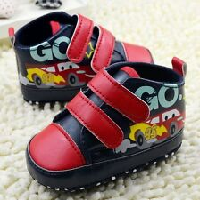 Soft Sole Red Velcro Baby Boy Girl Crib Shoes Cars Sneakers 3 6 9 12 18 Months