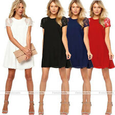 Women Loose Casual Lace Splice Chiffon Short Sleeve Cocktail Party Swing Dress