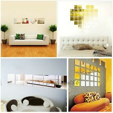 Square Acrylic Mirror Wall Sticker Mounted Set Home Room Decor Shaped Art Decals