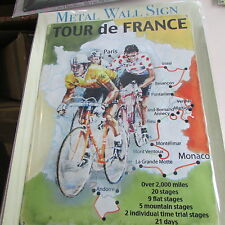 TOUR DE FRANCE MAP CYCLING BIKE GIFT,SIZE S,M,L,STEEL WALL PLAQUE METAL TIN SIGN