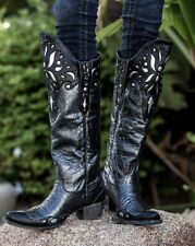 LB0176B GORGEOUS LANE BLACK PEWTER SUNBURST DISTRESSED COWGIRL BOOTS