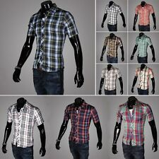 Men's Luxury Short Sleeve Casual Slim Fit Stylish Dress Shirt Button Down Shirt
