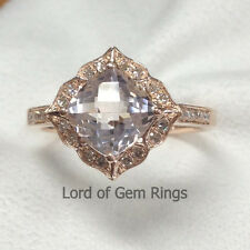 Fine Ring Vintage Floral Design Pink Peach Morganite with Diamonds,14K Rose Gold