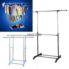 Double Adjustable Portable Clothes Hanger Rolling Garment Rack Duty Rail hfor