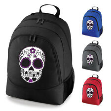 Mexican Sugar Skull Tattoo Day Of The Dead School Work Backpack Rucksack Bag NEW