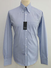 Men Long Sleeve Oxford Shirt By Relco New All Sizes Button Down Collar Mod Blue