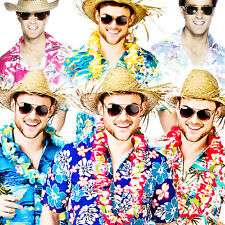 Hawaiian Tropical Shirts Adults Fancy Dress Hawaii Summer Mens Beach Costume New