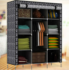 New Portable Folding Wardrobe Clothes Closet Rack With Shelves Bedroom Furniture