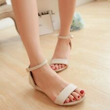 Sweet Women Sandals Synthetic Leather Buckle Low Heels Strap Ankle Shoes Sandals