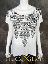Womens VOCAL Shirt Short Sleeve White with Pleated Sheer Back & Stones!