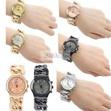 Women Men Fashion Round Dial  Shiny Chain Quartz Wrist Watch Classic Hot