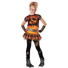 Pumpkin Costume Tween Girls Kids Punk Rocker Halloween Fancy Dress